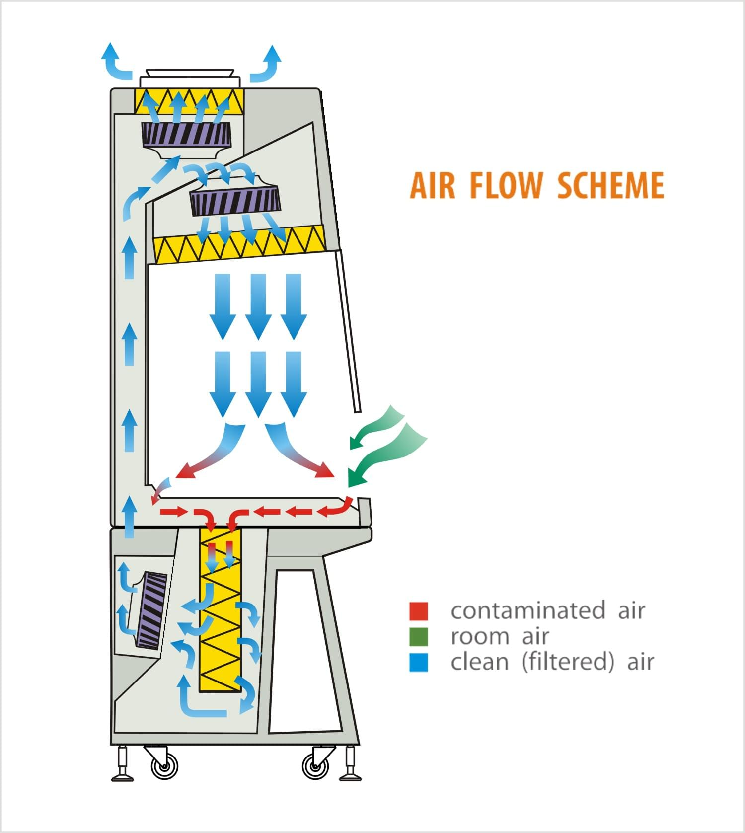 Air flow scheme - Microbiological Safety Cabinet Class 2 (Biological Safety Cabinet Class 2)